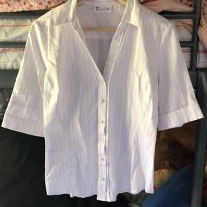 White & Pink Mid-Sleeve Button Down
